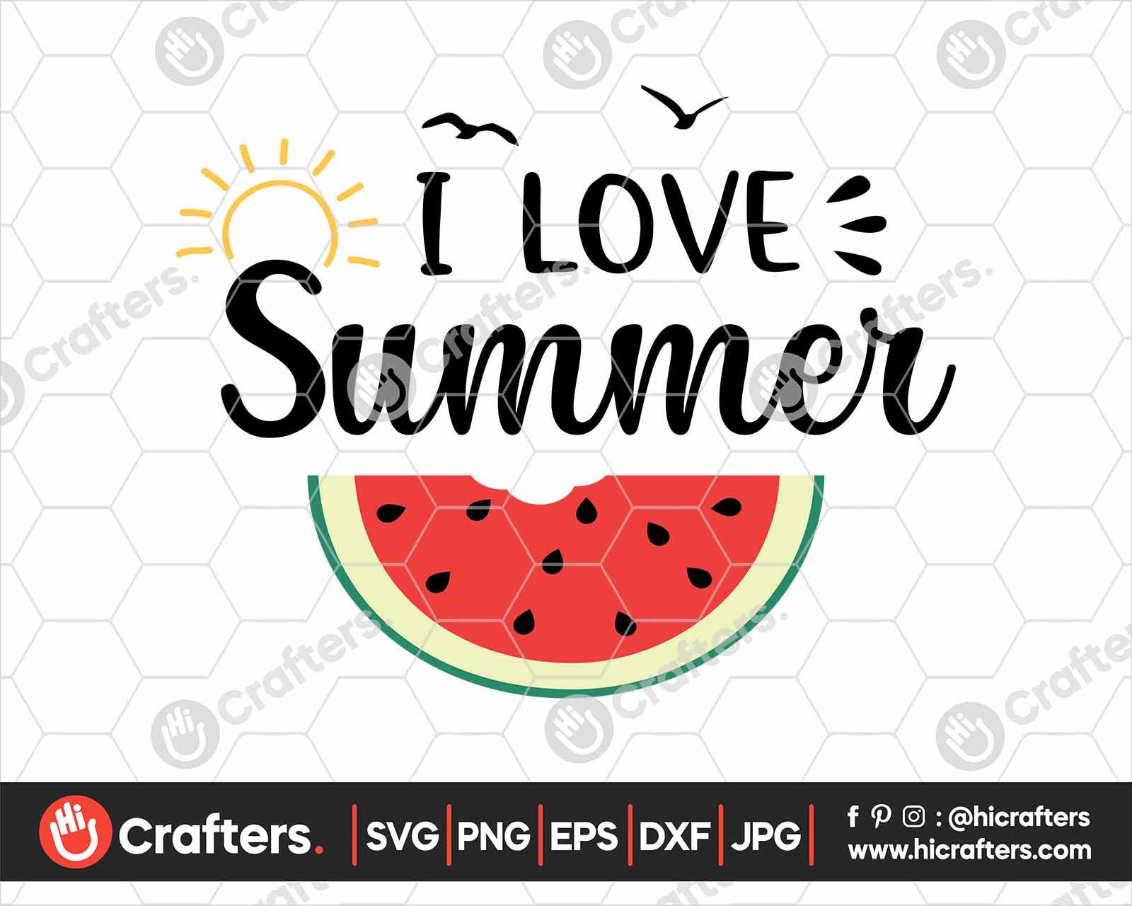 Download I Love Summer SVG, Watermelon SVG File For Cricut | Hi ...