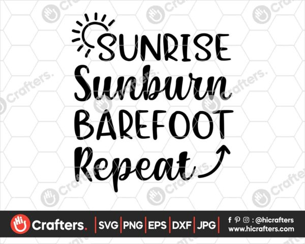 406 Summer Sunshine Barefoot Repeat Svg png