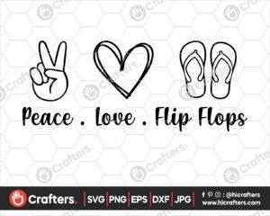 430 peace love flip flops svg