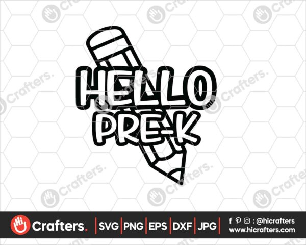 441 Hello Prek SVG PNG Prek Teacher SVG For Cricut