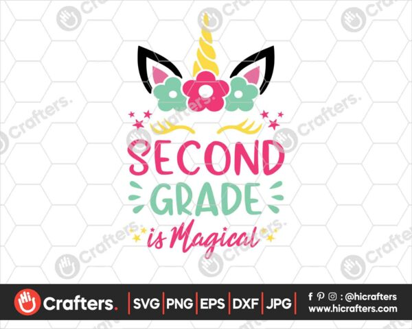 455 2nd Grade is Magical SVG Second Grade Unicorn SVG PNG