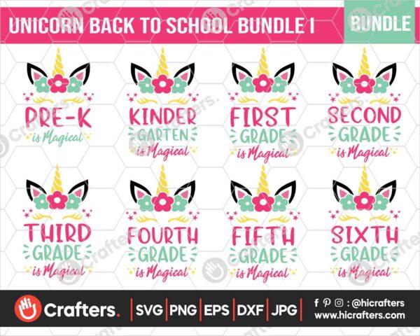 460 Unicorn Magical Back to School SVG Bundle