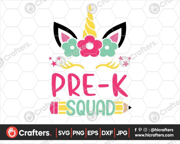461 Pre k Squad SVG Prek Unicorn SVG PNG