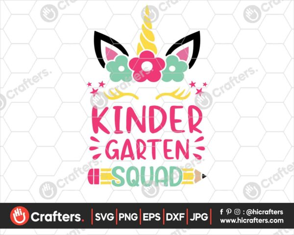 462 kindergarten Squad SVG kindergarten Unicorn SVG PNG