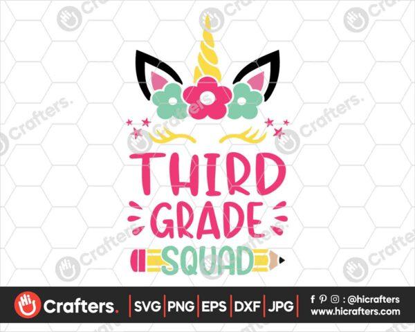 465 3rd Grade Squad SVG Third Grade Unicorn SVG PNG