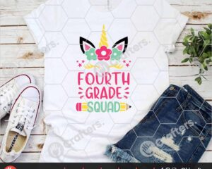 466 4th Grade Squad SVG Fourth Grade Unicorn SVG For Cricut
