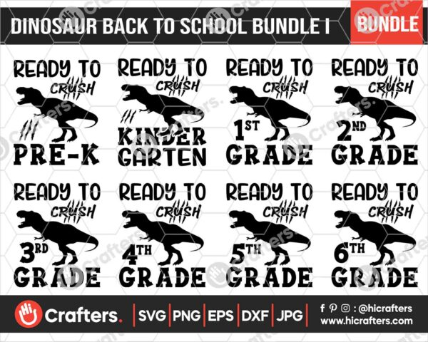 478 Dinosaour Back to School SVG Bundle