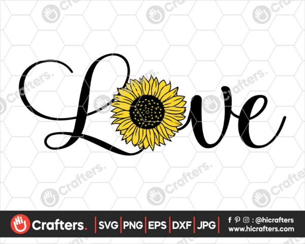 522 Love Sunflower SVG Sunflower Design SVG