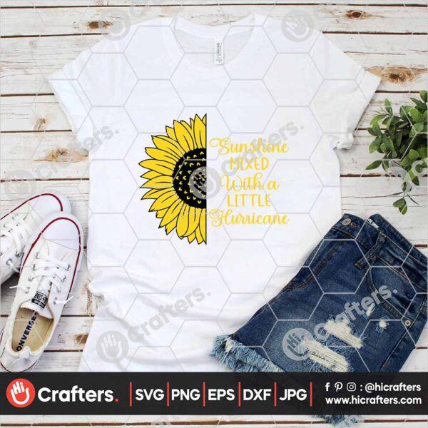 536 Sunflower Saying SVG Split Sunflower SVG