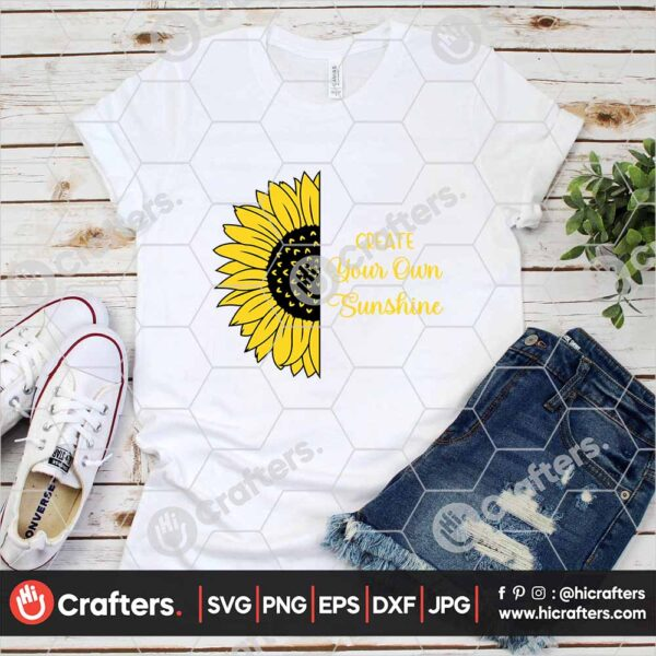 538 Half Sunflower with Saying SVG Image