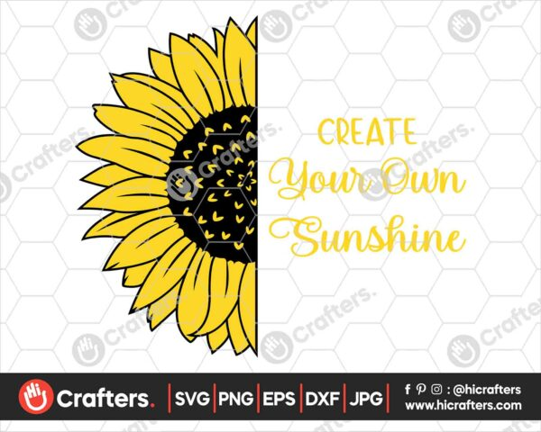 538 Half Sunflower with Saying SVG Image For Cricut