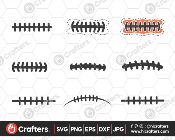 551 Football Laces SVG Bundle Football SVG PNG